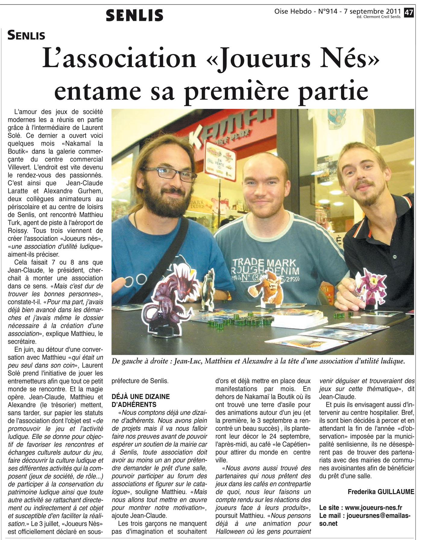 Article sur la création de la nouvelle association d'Utilité Ludique Senlisienne : Joueurs Nés